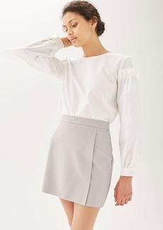 Raw Edge Wrap Mini Skirt