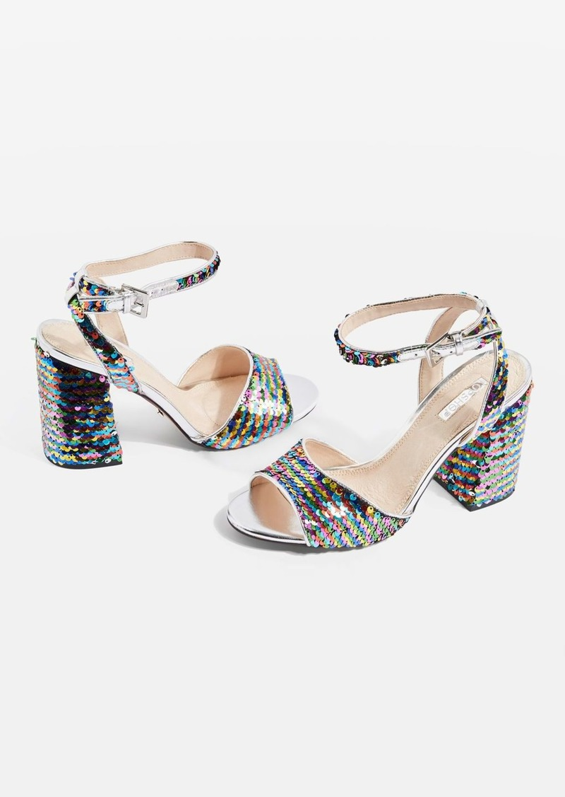 271a8f27054 Topshop Reaction Sequin Embellished Block Heel Sandals