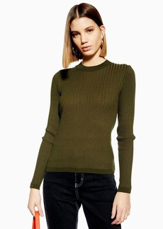 Topshop Recycled Mixed Ribbed Knitted Top