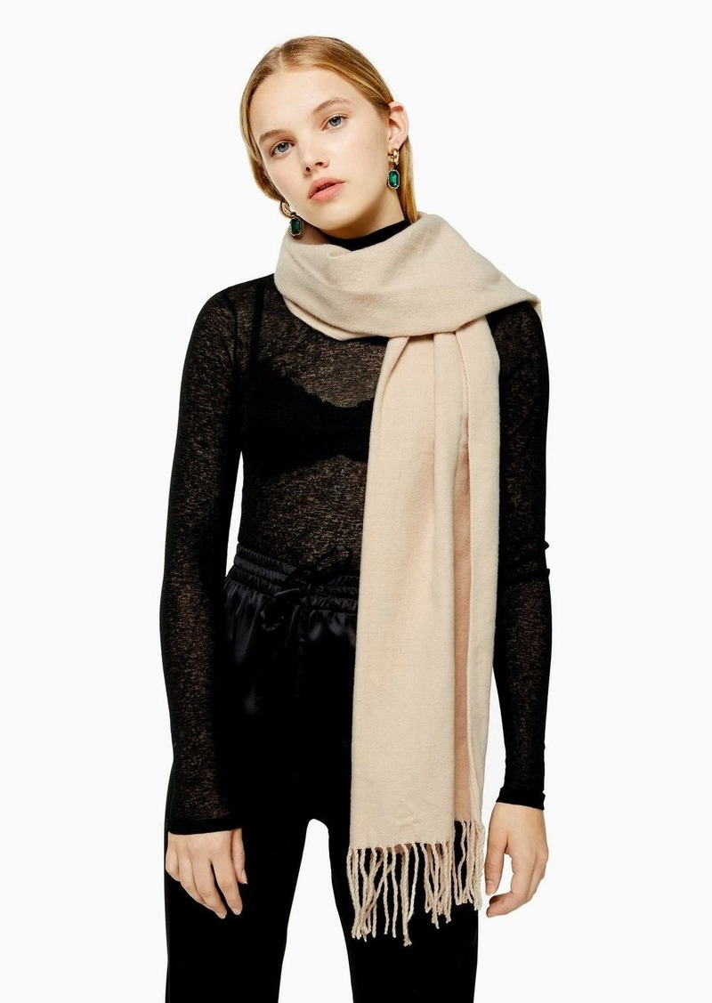 Topshop Considered Camel Super Soft Scarf With Recycled Polyester