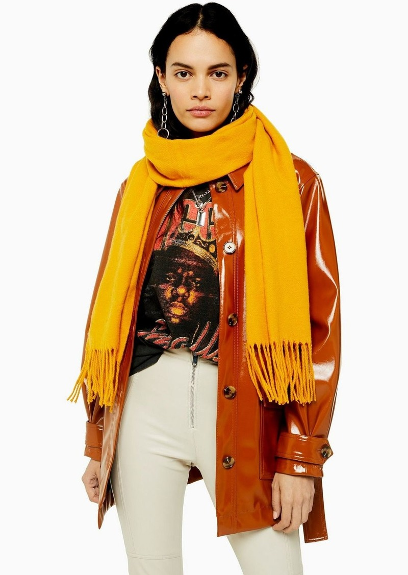 Topshop Considered Mustard Super Soft Scarf With Recycled Polyester