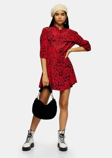 Topshop Red Animal Mini Shirt Dress