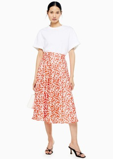 Topshop Red Floral Full Circle Midi Skirt