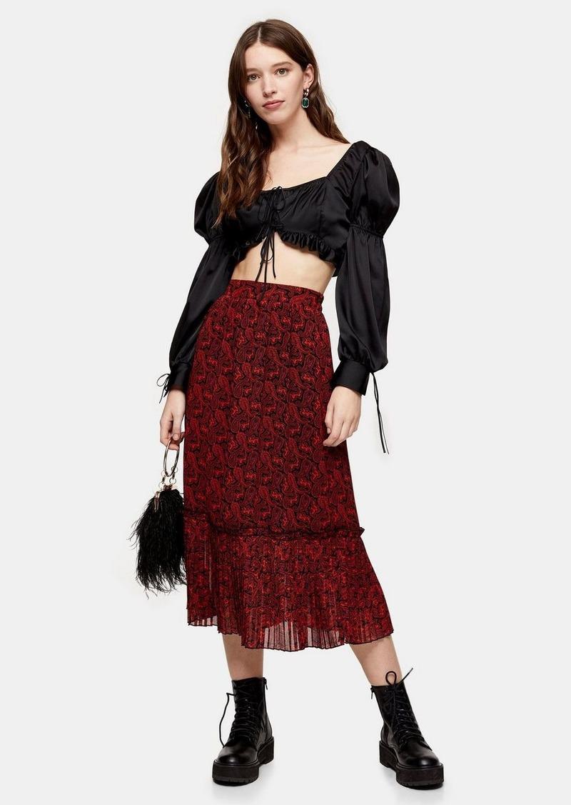 Topshop Red Paisley Print Pleated Hem Midi Skirt