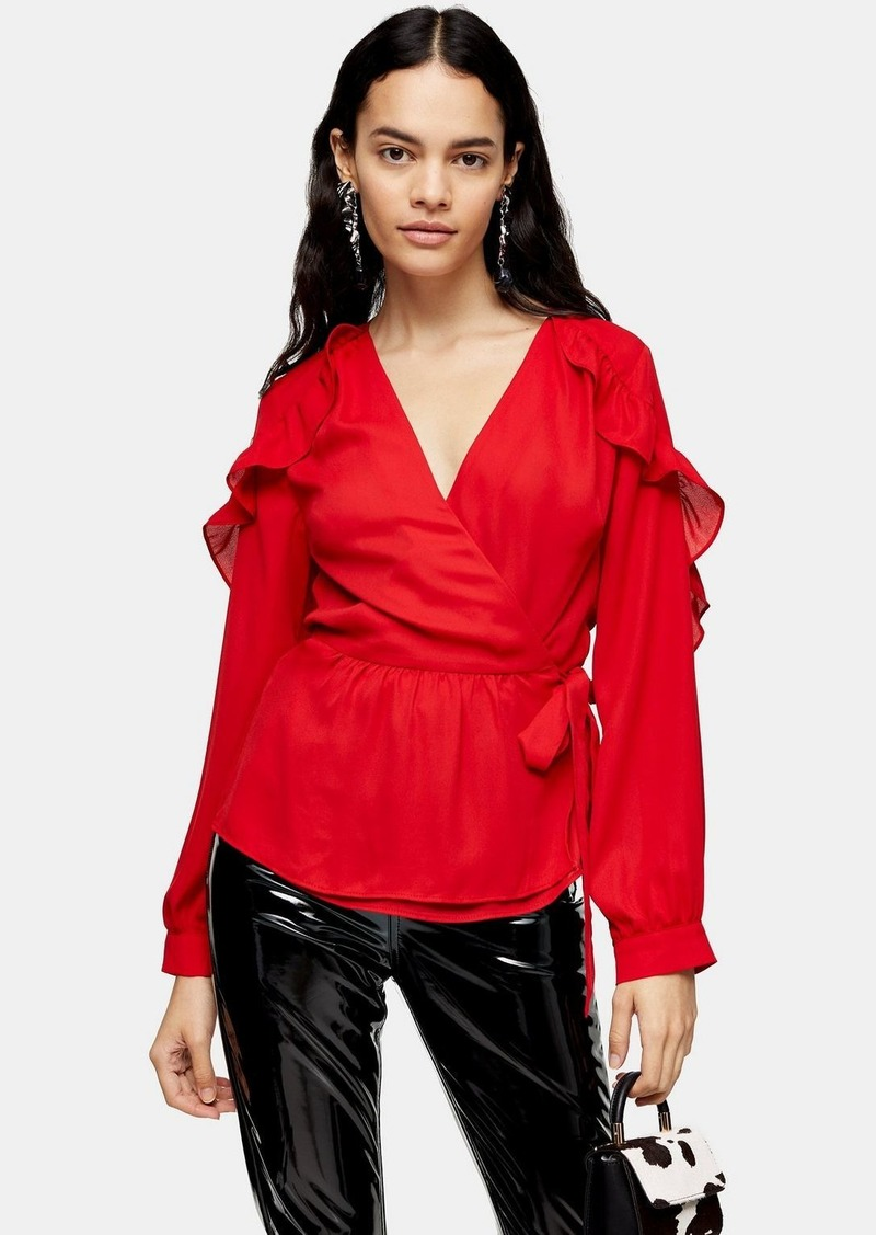 Topshop Red Plain Wrap Frill Top