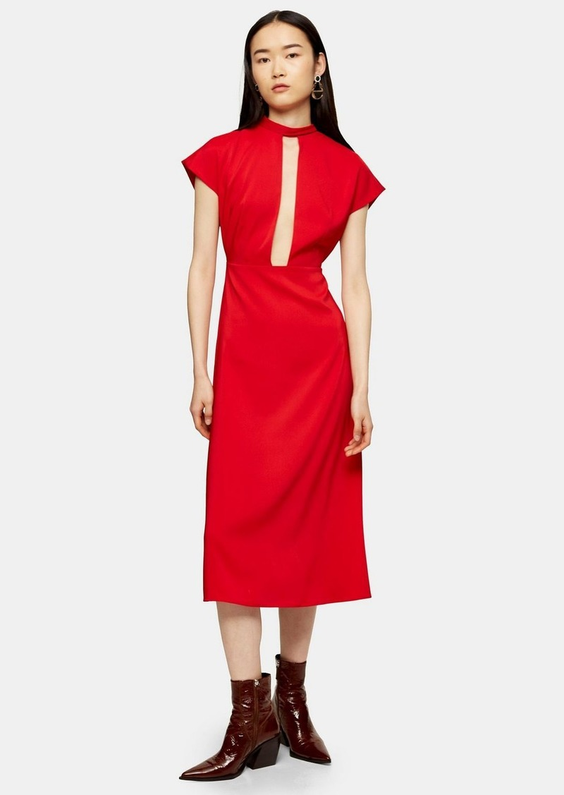 Topshop Red Plunge Tie Neck Midi Dress