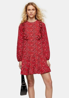 Topshop Red Ruffle Chuck On Mini Dress