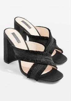 Topshop Rhonda Fringed Mule Sandals
