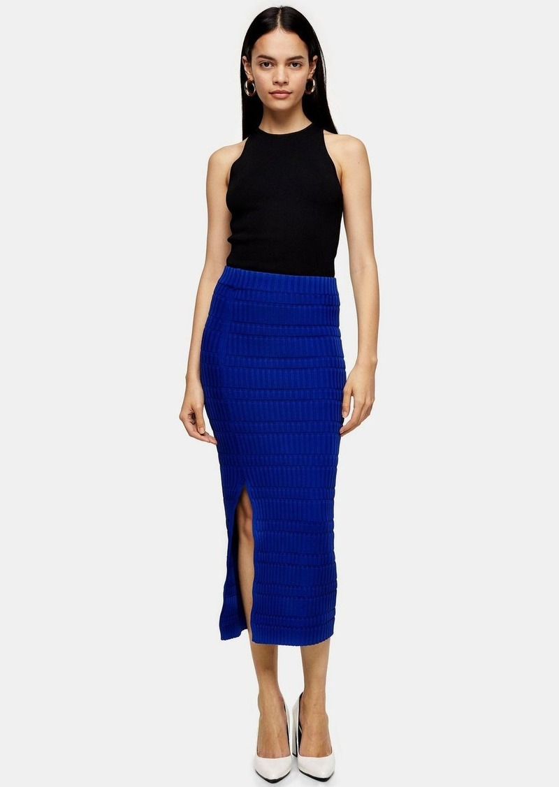 Cobalt Blue Ribbed Knit Midi Skirt By Topshop Boutique