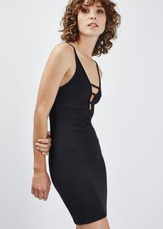 Topshop Ribbed T Bar Strap Bodycon Dress