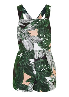 Topshop Ring Detailed Leaf Print Playsuit
