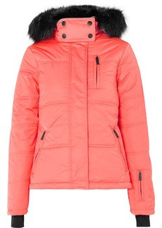 Topshop Rio Hooded Faux Fur-trimmed Quilted Ski Jacket