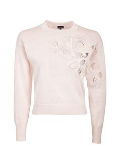 Rose Cutout Knitted Sweatshirt