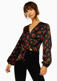 Topshop Rose Floral Print Tie Front Blouse