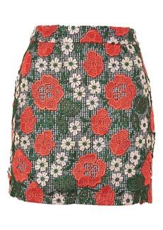 Rose Lace Gingham Mini Skirt