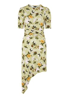 Topshop Ruched Floral Print Midi Shift Dress