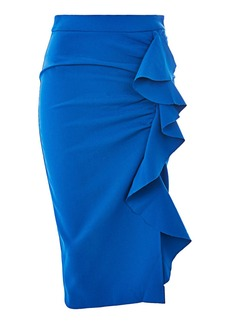 Ruffle Crepe Midi Skirt