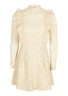Topshop Ruffle Lace Embroidered Dress