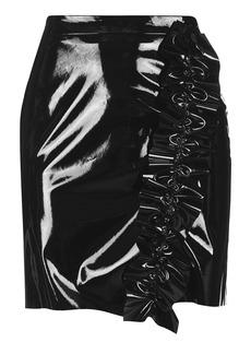 Ruffle Vinyl Mini Skirt
