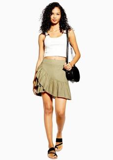 Topshop Sage Linen Rich Wrap Mini Skirt