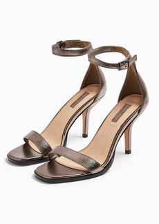Topshop Sage Silver Curve Open Toe Sandals