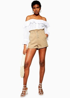 Topshop Sand Paperbag Denim Shorts