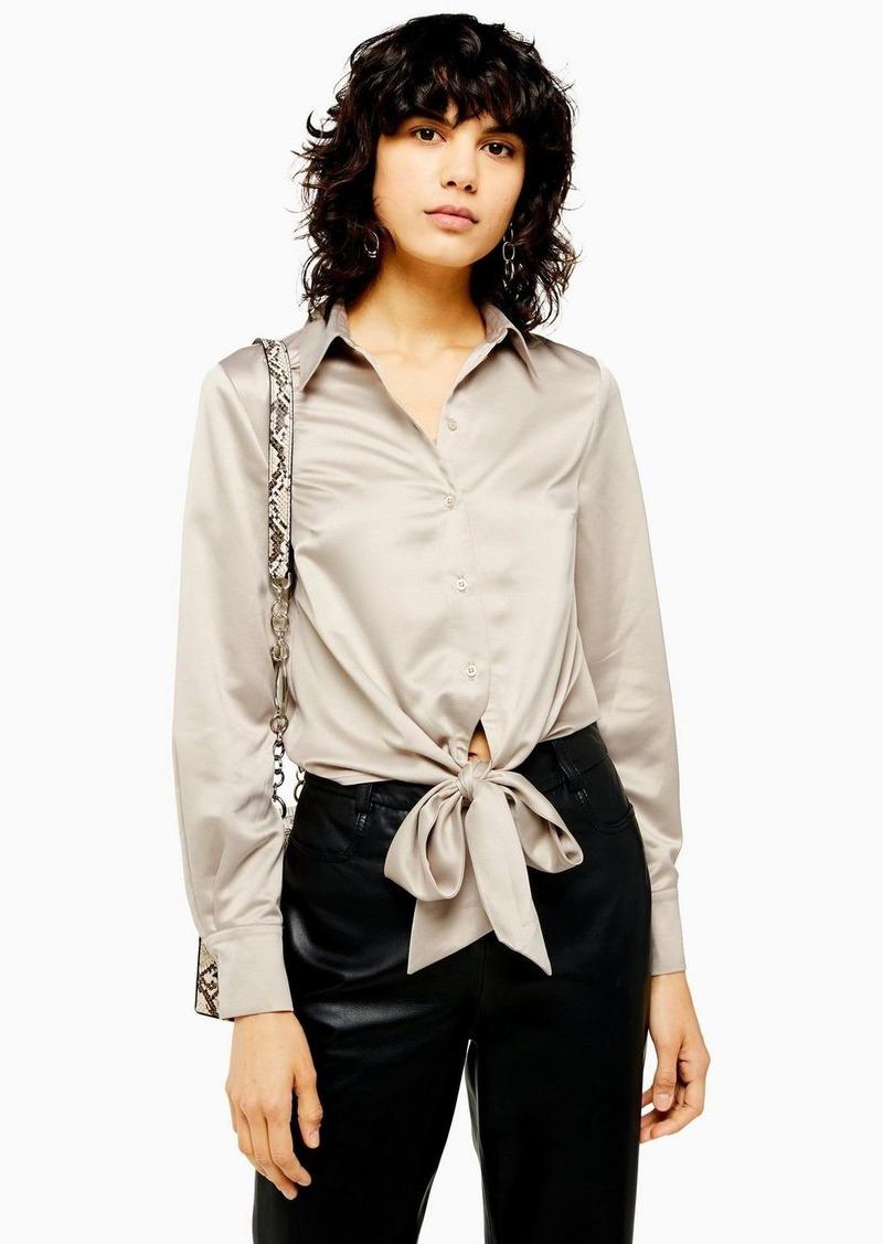 Topshop Satin Knot Front Shirt