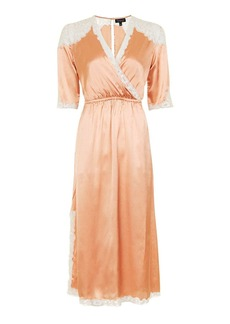 Topshop Satin Lace Wrap Midi Dress