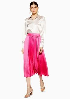 Topshop Satin Pleat Midi Skirt