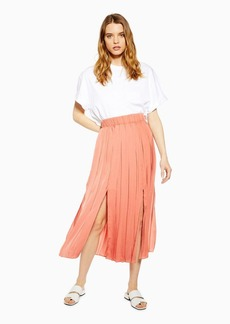Topshop Satin Pleated Midi Skirt