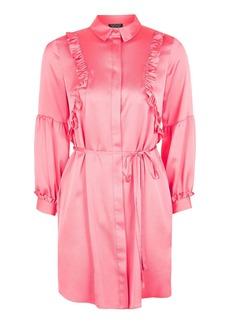 Topshop Satin Ruffle Shirt Dress