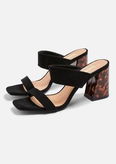 Topshop Selina Suede Black Tortoiseshell Heel Sandals