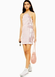 Topshop Sequin Halter Neck Mini Dress