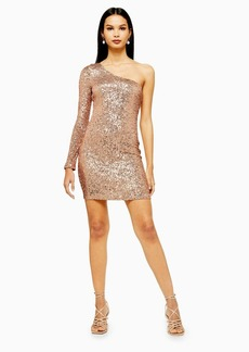 Topshop Sequin One Sleeve Mini Dress