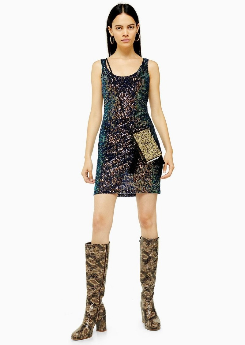 Topshop Sequin Scoop Mini Dress