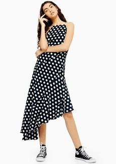 Topshop Black Shadow Spot Ruffle Hem Midi Dress