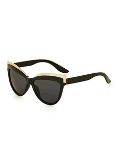 Topshop Sheldon Black Metal Detail Cateye Sunglasses