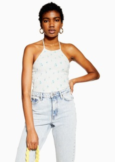 Topshop Shirred Floral Halter Neck Top