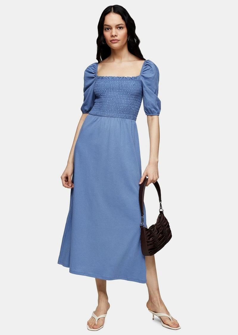 Topshop Shirred Midi Dress