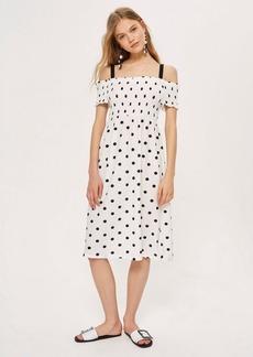 Topshop Shirred Strappy Midi Dress