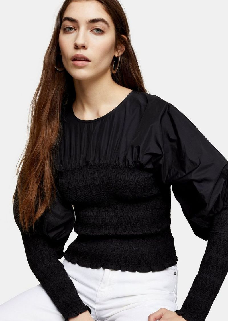 Topshop Black Shirred Taffeta Top