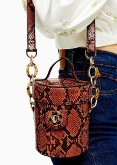 Topshop Shona Orange Snake Barrel Cross Body Bag