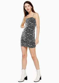 Topshop Silver Glitter Metallic Thread Dress