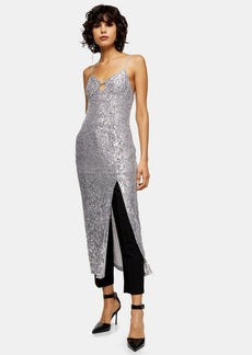Topshop Silver Sequin Keyhole Midi Dress