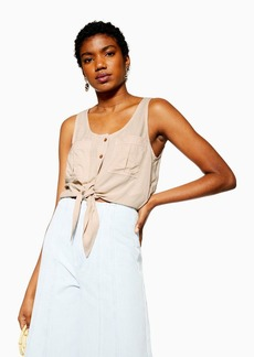 Topshop Sleeveless Knot Front Crop Top
