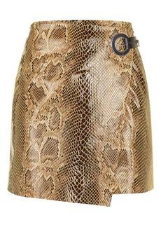 Snake Eyelet Leather Skirt