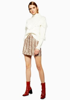 Topshop Snake Popper Pu Mini Skirt