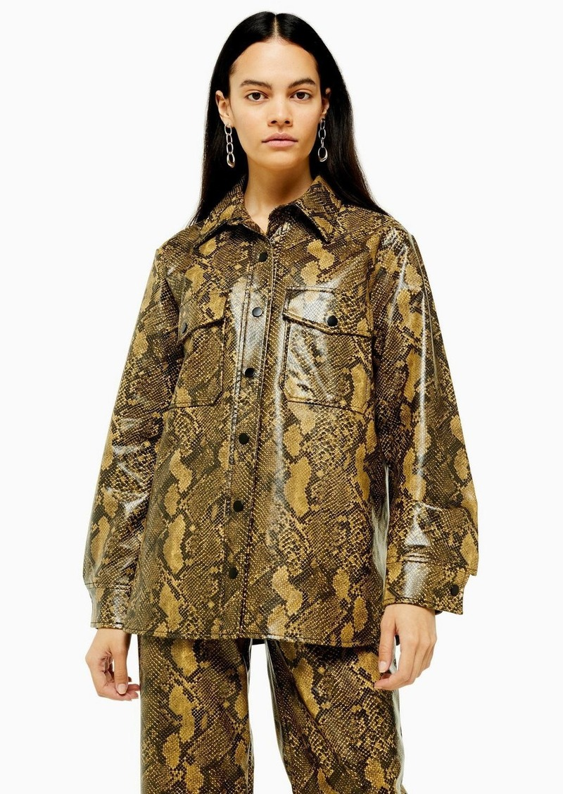 Topshop Snake Faux Leather Pu Shirt