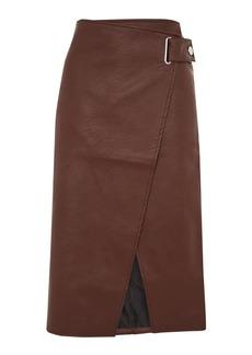 Snap Wrap Pu Midi Skirt