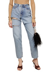 Petite Women's Topshop Sofia Ripped High Waist Dad Jeans